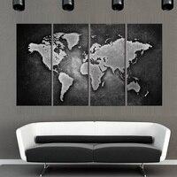 4 חתיכות ממוסגר קיר תמונת אמנות ציור הדפס בד קישוט בית מתנה סיטונאי מפת עולם של שחור ולבן YT-DC1-100 (DT)
