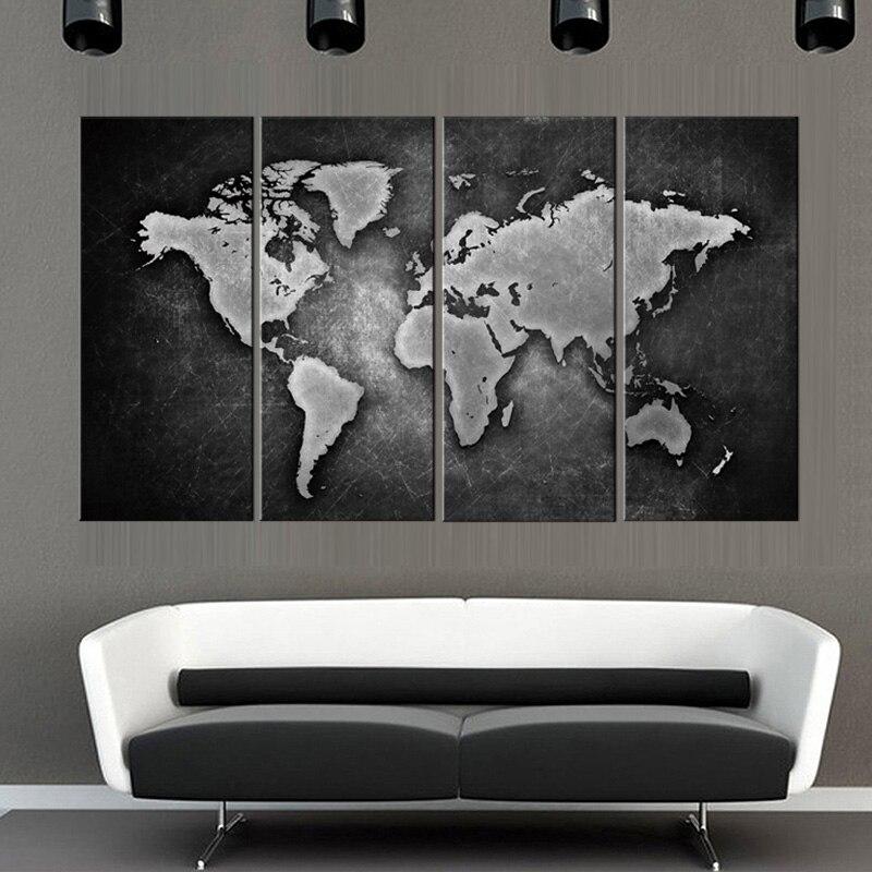 Настенные художественные картины в рамке, 4 шт., подарок для украшения дома, печать на холсте, черная и белая карта мира, оптовая продажа, YT DC1 100(DT) prints painting canvas printsart pictures   АлиЭкспресс