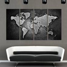 4pieces framed Wall Art Picture Gift Home Decoration Canvas Print painting Black and white world map