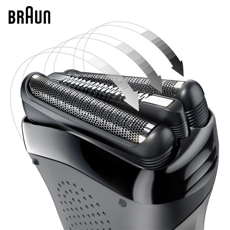 Электробритва Braun с 3 плавающими фрезами, электрическая бритва IPX7, водонепроницаемая, для мужчин, безопасная, перезаряжаемая, возвратно поступательная бритва, 301S - 6
