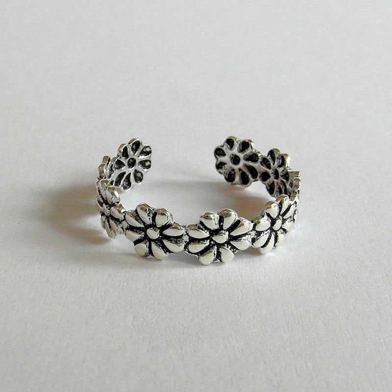 1 טבעת רגל תכשיטי רטרו פרח ווג מתכוונן קיץ חוף הבוהן טבעת חוף תכשיטי נחמד שיק פשוט כסף טון