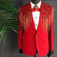 M 3XL новая версия Для мужчин одежда производительность красный цепи Костюмы платье этап певица праздничное пальто для ночного клуба Бар DJ Пи