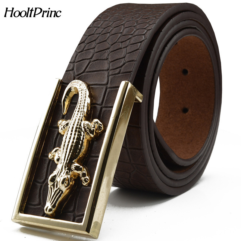 HooltPrinc 2017 Brand New All-matched Men's Gold Belt Cowboy Cowhide Crocodile Stylish Belts Men Smooth Buckle Waist Strap Jeans