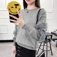 Fashion Pearls Beading Ans Faux Fur Embellished Cuff Jumper Grey Crew Neck Casual Pullovers Autumn Elegant Long Sleeve Sweater