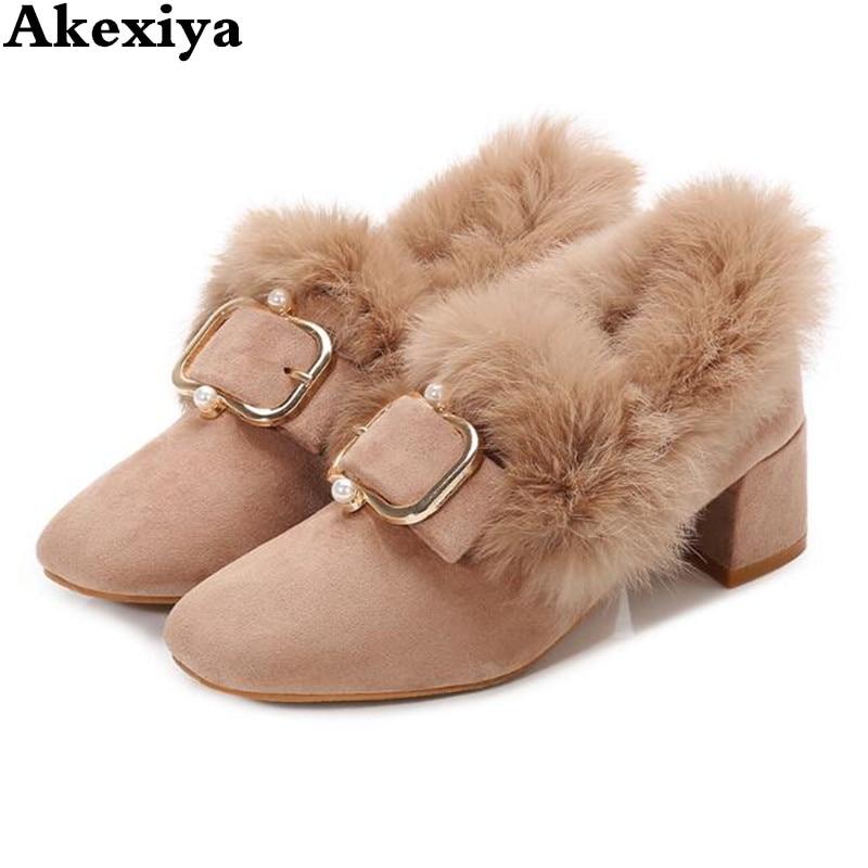 Winter Mule Shoes Women Fur Mules Slippers Rabbit Hair Velvet Metal Chian Buckle Fur Slides Fashion