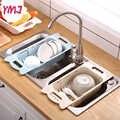 Küche Körbe Abtropfgestell Rack obst Korb Moderne Kunststoff Einstellbare Über die Waschbecken Rostfrei Lagerung Utensil Küche werkzeuge