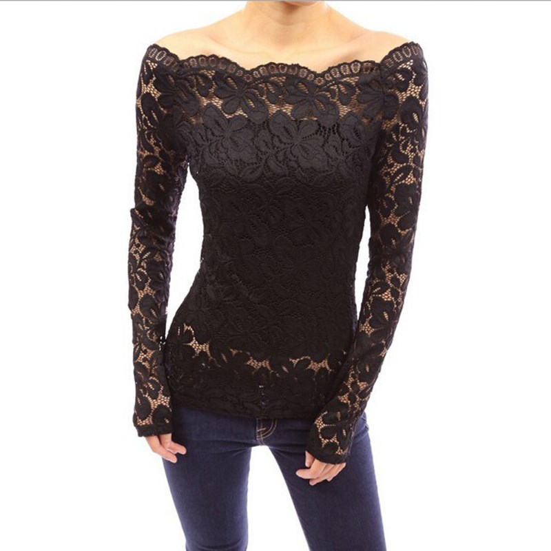 249cfcb5732 ZANZEA Women Tops 2018 Autumn Sexy Blusas Off Shoulder Slash Neck Lace  Solid Shirts Long Sleeve Slim Casual Blouses Plus Size-in Blouses   Shirts  from ...