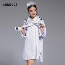 ANNROOT High quality women shirt Black white collocation Spring summer new section shirt women's boutique shirt trumpet female