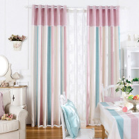 Soft Blackout Curtains Fabrics For Bedroom Chenille Home Window Curtains Pink Striped Drapes Princess Thick Girls Blinds Thermal
