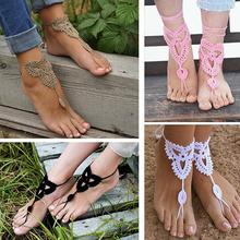 Hot Women Girl's Barefoot Anklet Crochet Cotton Ankle Chain Sandal Bracelet Foot Jewelry 6Y3J 7ELO BDWP