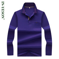 IN YESON Brand Men S Polo Shirt Long Sleeve Cotton Breathable Slim Fit Solid Elegant Royal