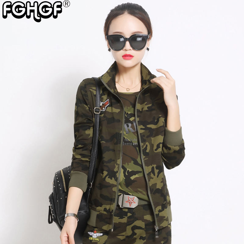 New Fashion Military style Camouflage Womens Jacket Coat Autumn Cotton Jackets And Coats Zipper Slim Brand Jacket Women 3821