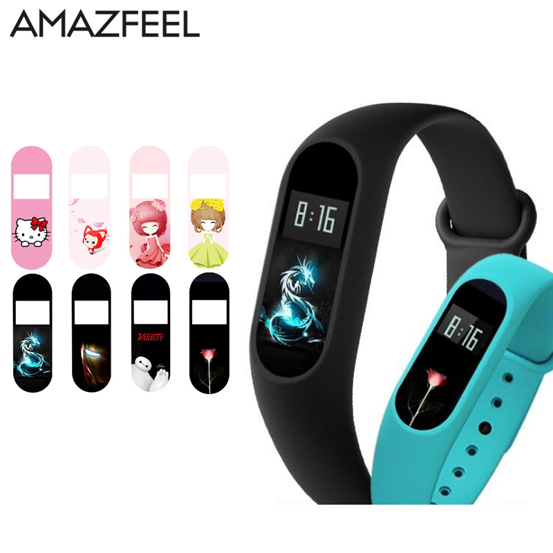 AMAZFEEL 10Pcs/Pack Cartoon Screen Protector for Xiaomi Mi Band 2 Screen Protector Ultra-thin Film Fit for Miband 2 Wristband