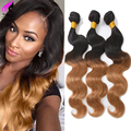 Ombre Brazilian Hair Body Wave 3 Bundle Deals Unprocessed Brazilian Virgin Hair Body Wave Cheap Wet And Wavy Ombre Human Hair