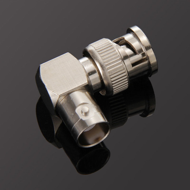 Small Durable Zinc Alloy Right Angle RF Adapter BNC Male To Female Connector Video Surveillance Transmission Cable Accessories