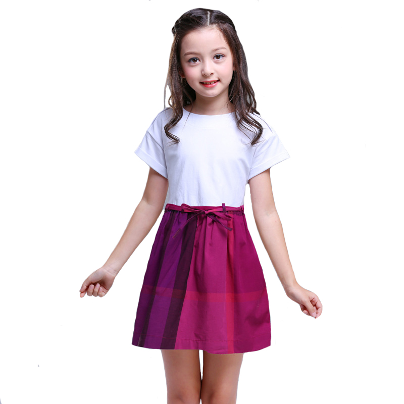 2018 Summer Big Girls Dress Kids Cotton Plaid Dresses Draped A-line for Children clothing party England Style High Quality