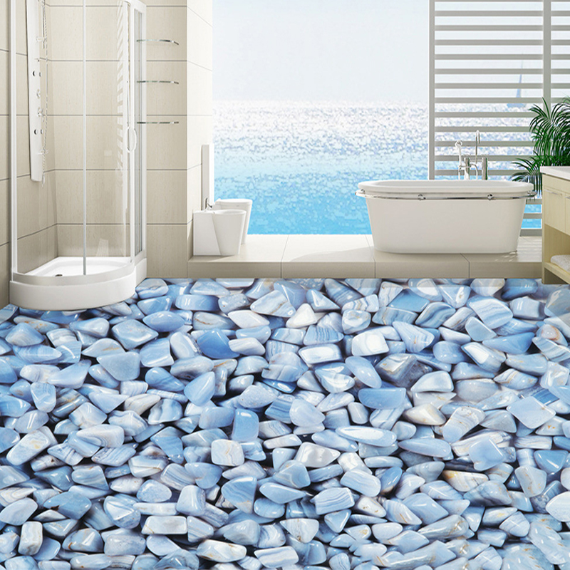 Custom self adhesive floor tiles mural blue mediterranean pebble flooring pho - Carrelage mural pvc adhesif ...
