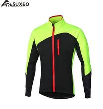 ARSUXEO Cycling Jacket Men Winter Thermal Warm Up Fleece MTB Bike  Windproof Reflective Jersey