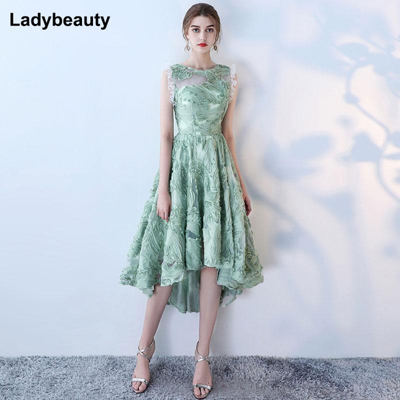 2018 New Green Short   Evening     dresses   Short Front Long Back Lace Party Gown Formal   Dresses   prom Sleeveless vestido de noiva