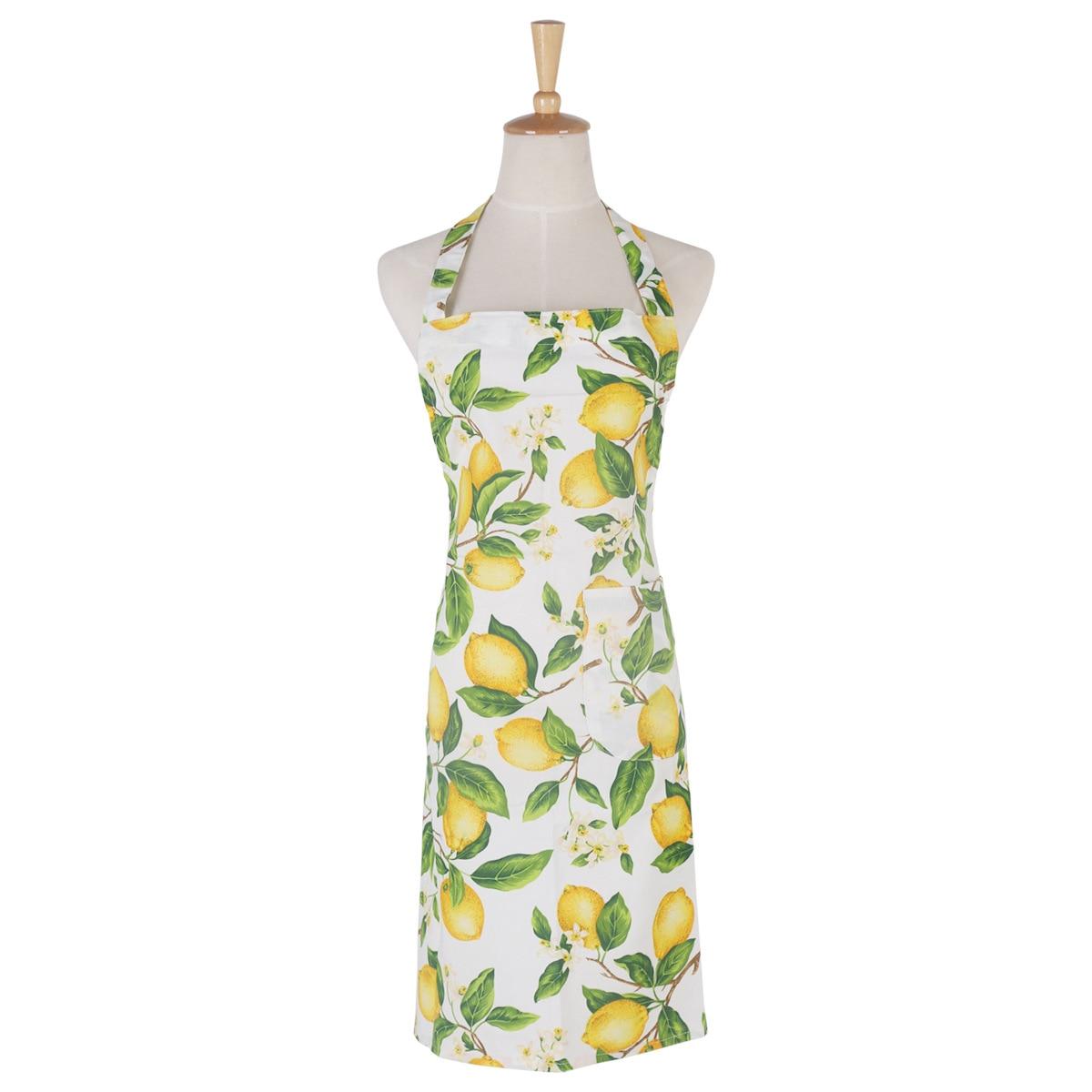 Buy white apron nz - Women Yellow Lemons Cotton Apron Vintage Kitchen Cooking Cuisine Pinafore Retro Pockets Apron China