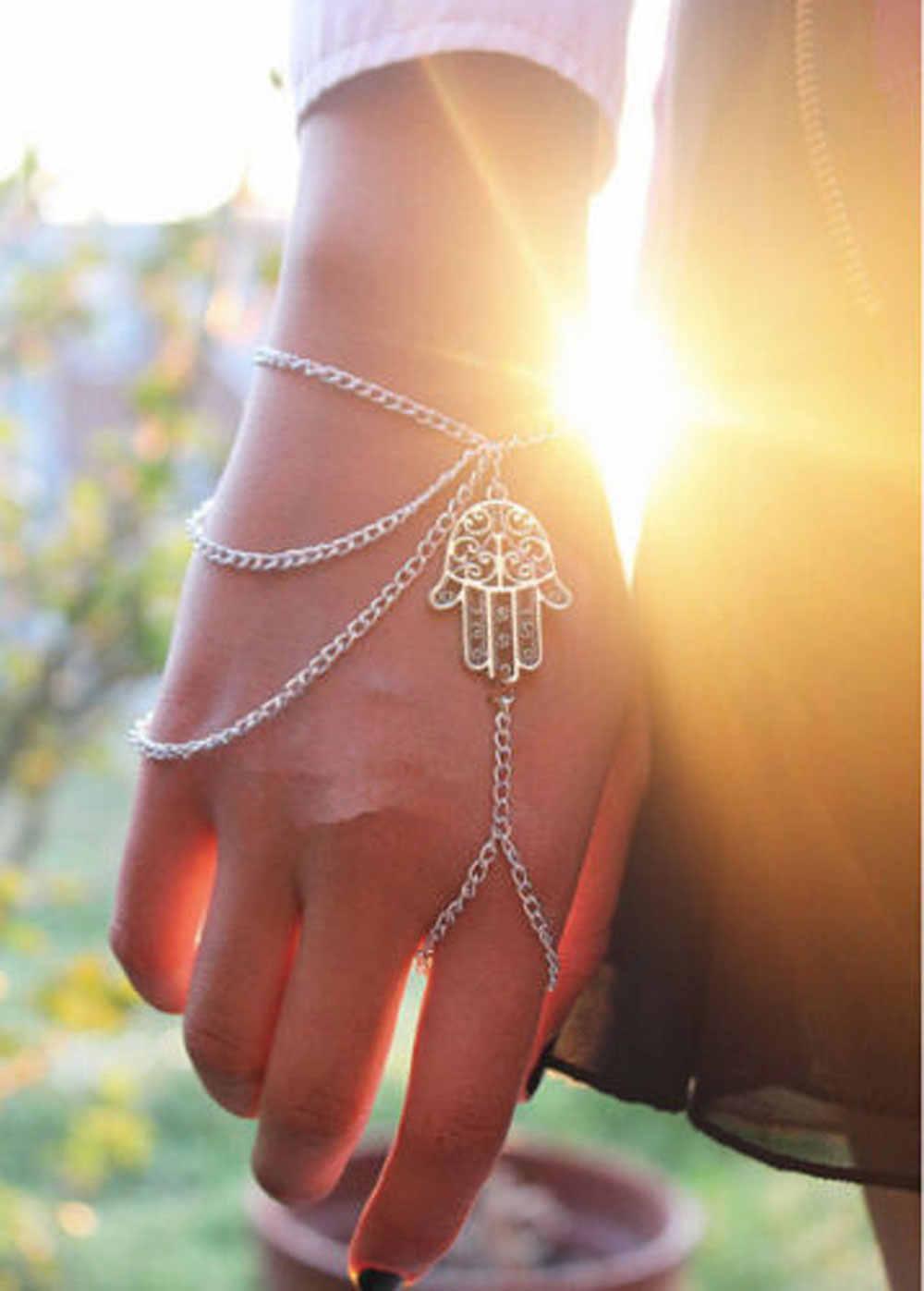 Mulher na moda kabbalah prata hamsa mão fatima sorte pulseira escravo corrente chicote de mão anel pulseira jóias para mulher