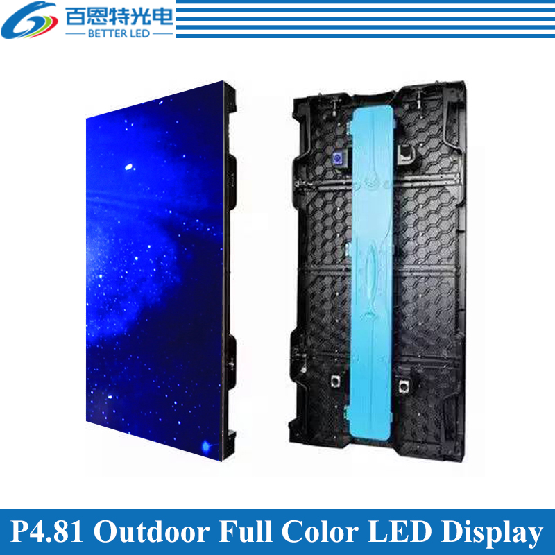 4pcs/lot P4.81 Outdoor 1/13 Scan 500*1000mm 104*208 Pixels Die-cast Aluminum Cabinet Rental Full Color Video LED Display Screen