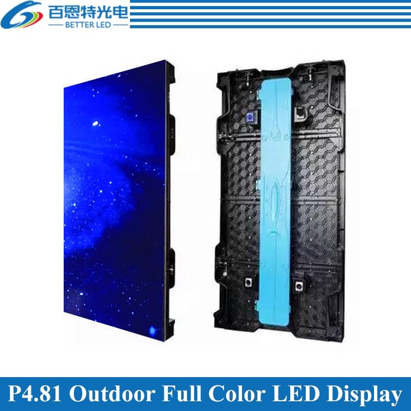 4pcs/lot P4.81 Outdoor 1/13 scan 500*1000mm 104*208 pixels Die cast Aluminum Cabinet Rental Full color video LED display screen