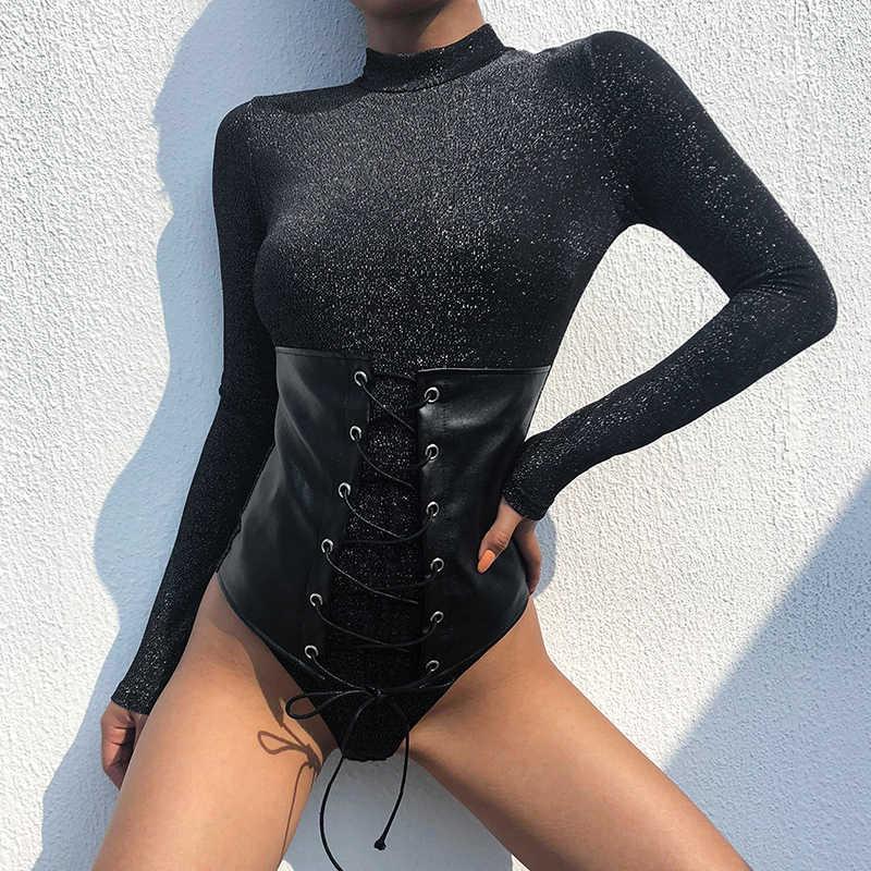 Weekeep женское черное облегающее боди с длинным рукавом Пэчворк с круглым вырезом высокие уличные боди весна осень цельное Боди женское 2019