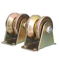 New 2pcs 2inch Sliding Gate Roller Wheel Mayitr Steel V Type Wheel Track Rail W Bracket