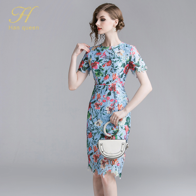 Bodycon Print Dress Retro...