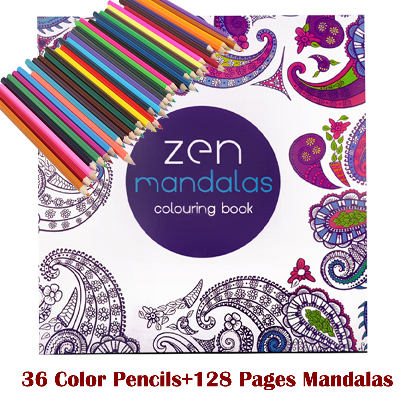 128   coloring books +36 color pencil Relieve Stress Kill Time Korea Mandalas Graffiti Drawing Book libro colorear os