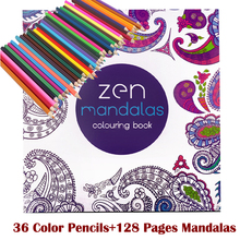 128  adult coloring books +36 color pencil Relieve Stress Kill Time Korea Mandalas Graffiti Drawing Book libro colorear adultos все цены