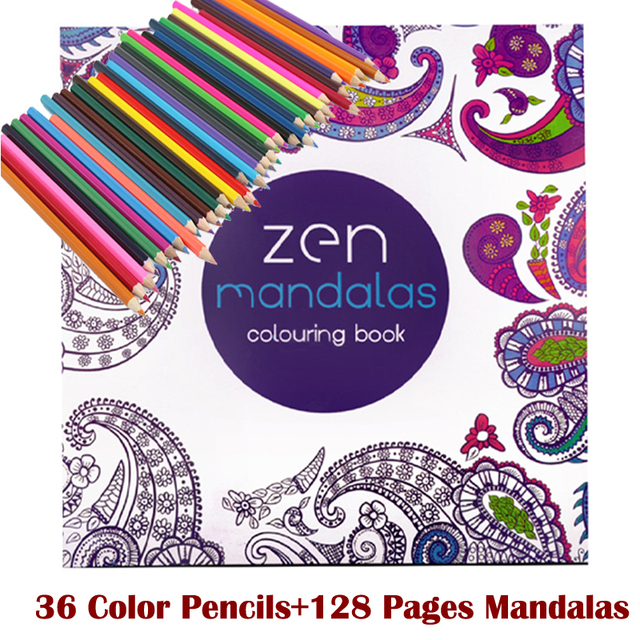 128  adult coloring books +36 color pencil Relieve Stress Kill Time Korea Mandalas Graffiti Drawing Book libro colorear adultos