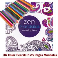 128 Adult Coloring Books 36 Color Pencil Relieve Stress Kill Time Korea Mandalas Graffiti Drawing Book