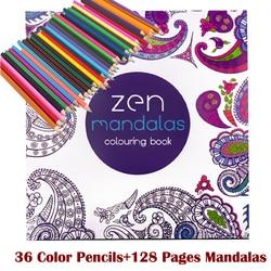 128 adult coloring books +36 color pencil Relieve Stress Kill Time Korea Mandalas Graffiti Drawing Book libro colorear adultos