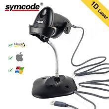 USB Автоматический сканер штрих-кодов, Symcode 1D лазерный проводной USB Ручной считыватель штрих-кодов с подставкой