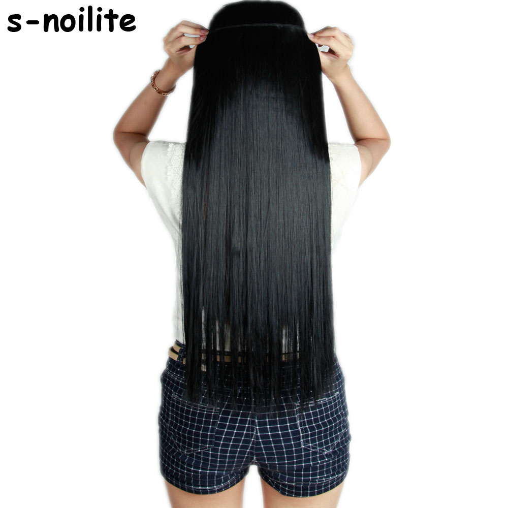 S-noilite Fall to vyötärö 46-76 CM pisin leike ihmisen hiustenpidennyksille One Piece Real Natural Thick Synthetic Hair Extention