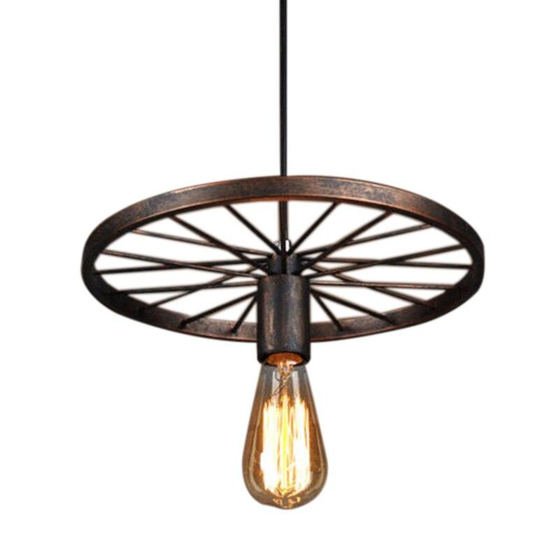 Retro Iron Light Industrial Lamp Nordic Metal Wheel Lights Hanging Lamp E27 Indoor Lighting Ceiling Light Home Decor