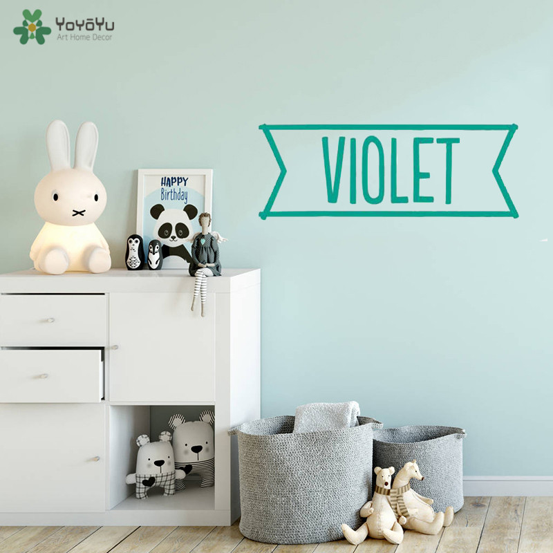 YOYOYU Wall Decal Personalised Name Wall Sticker Kids Bedroom Vinyl Wall Decal Diversified Color Choice Furniture Stickers QQ214 in Wall Stickers from Home Garden