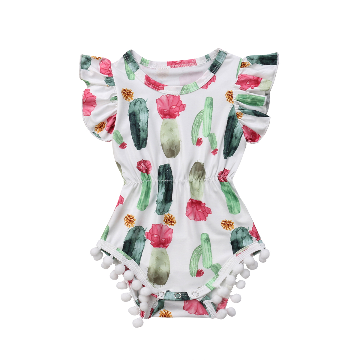 Cute Newborn Baby Girl Ruffle Cactus Print   Romper   Sleeveless Tassel Jumpsuit Clothes Outfit Summer