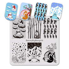 BeautyBigBang 6*6cm Stamping Plate For Nail Polar Bear Fox Penguin Animal Plates Template Art Stencils BBB018
