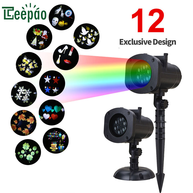 12 Pattern LED Projection Lamp Film Card Projector Light Indoor Outdoor Decoration Lamp for Christmas Birthday Wedding Halloween