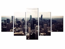 Hot Sales 5 Panels Picture City HD night scene series  Canvas Print Painting Artwork Wall Art painting /XC-city-91
