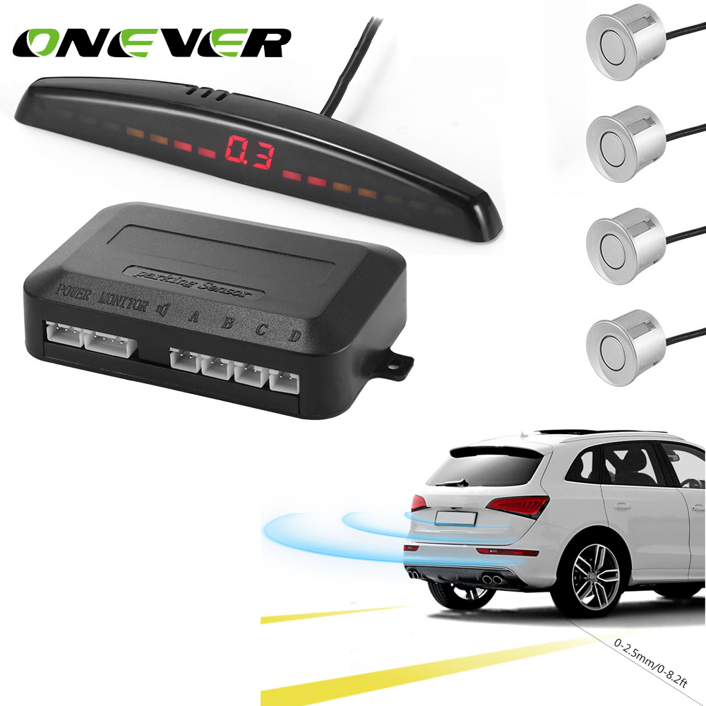 Onever LED Display Car Parking Sensors 4 Radars Kits Monitor Detector System Automobile Security Alert System Hot Sell NEW
