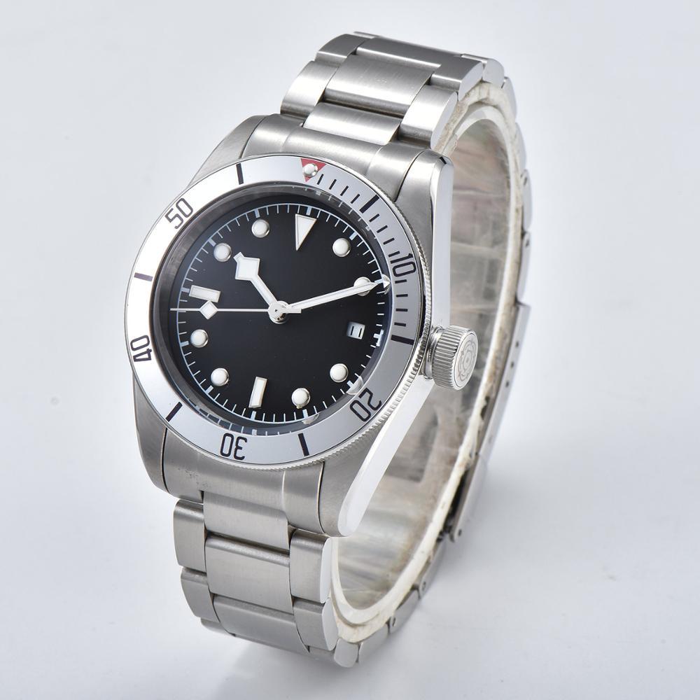 Orologio 41 millimetri diving movimento automatico Bay argento lunetta militare puntatore luminoso bracciale in acciaio vetro minerale quadrante Nero D6 - 2