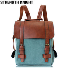 Vintage Women Canvas Backpacks For Teenage Girls School Bags Large High Quality Patchwork Backpack Escolares