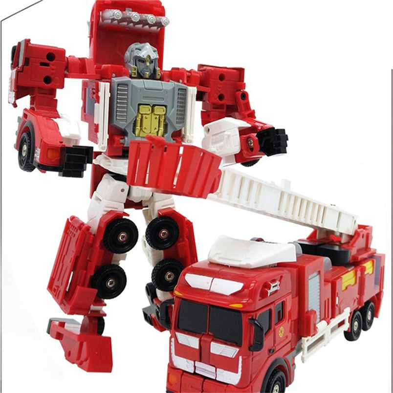 Abbyfrank Alloy And Plastic 2 In 1 Deformation Robot Car Vehicles Model Toys Children' Toys Fire Truck Transformation Robots abbyfrank 5 in 1 transformation car assembly action figure toys truck plastic engineering vehicles robot christmas toy for kids