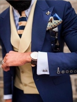 Custom Navy Blue Groom Tuxedos Slim Fit Wedding Suits For Men Prom Party Blazer Street Smart Business Suit For Men Costume Homme