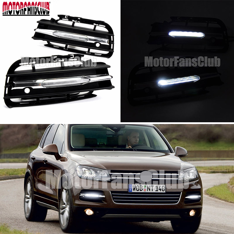 DC 12V 6000K~6700K For VW Volkswagen Touareg 2011 2012 2013 2014 LED Daytime Running Light Fog Lamp DRL Car Front Bumper Lights