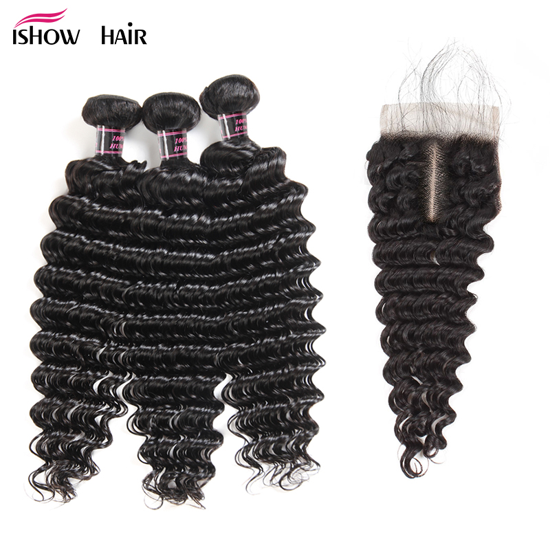 Ishow Deep Wave Bundles With Closure Non Remy Hair Free Part Lace Closure With 3 Bundles